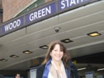Lynne Featherstone MP outside Wood Green Station