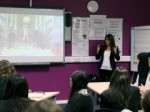Lynne Featherstone MP taking questions from students at Hornsey School for Girls