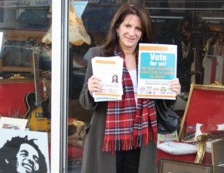 Lynne Featherstone MP on Hornsey High Street, outside Brand New Start independent shop and gallery