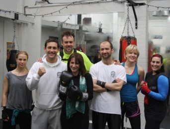 Lynne Featherstone MP at Total Boxer, with owner Matt Garcia and customers