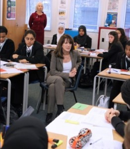 Lynne Featherstone MP participating in a group discussion with students from Hornsey School for Girls.