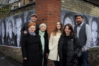 Lynne Featherstone MP with photographers Matt Humphrey and David Gould, and shop-keepers present were Ruth Syratt (Cha Cha Cha), Charlotte Murray (Charlotte Murray Salon) and Linn (Rosie Brown Boutique) in front of the Inside Out project portraits. Photo credit: © Annabel Cook