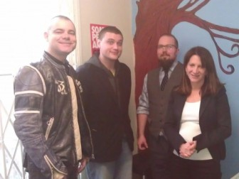 Lynne Featherstone MP with Stonewall Housing Chief Executive Bob Green, staff member Octavian, and one of the house residents
