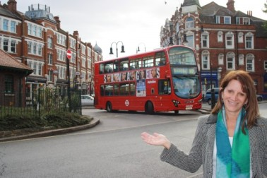 Lynne with approaching W7 bus