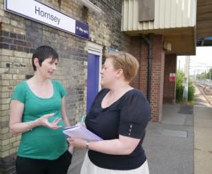 Local activist Dawn Barnes and Caroline Pidgeon AM at Hornsey rail station