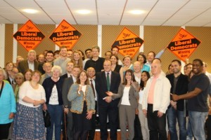 Lynne Featherstone MP, Ed Davey MP and the Haringey Liberal Democrats celebrate Lynne's reselection