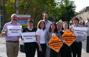 Lynne Featherstone and Haringey Liberal Democrats celebrate Whittington success