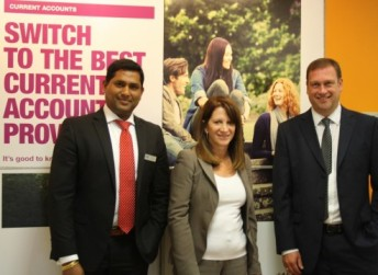 Lynne Featherstone with Bhanu Raghav Kuppala, the branch manager and local area manager David Whitehead