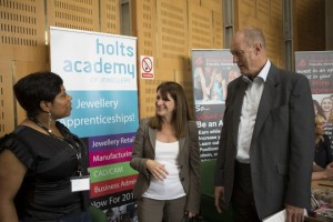 Lynne Featherstone MP  with Gordon Birtwistle MP, talking to an organisation representative at the Haringey Apprenticeship event