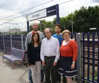 Lynne Featherstone MP with local Lib Dem campaigners at Hornsey Rail Station