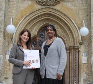 Lynne Featherstone MP outside Wood Green Crown Court with a Victim and Witness Sport representative