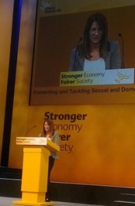 Lynne Featherstone MP speaking at Liberal Democrat Conference, Glasgow 2013