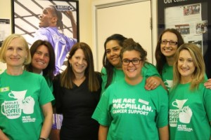Lynne Featherstone MP with Barclays' staff and Macmillan representatives in Barclays, Wood Green