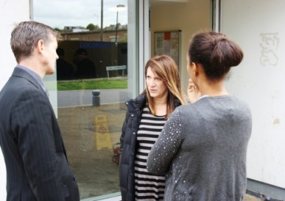 Lynne Featherstone MP and a local resident make demands to the Circle 33 Managing Director outside the New River Village Colorado apartments.