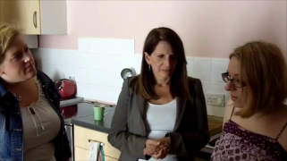 Dawn Barnes, Lynne Featherstone MP and Local Resident Kristine Gravelsina in the New River Village Colorado apartment
