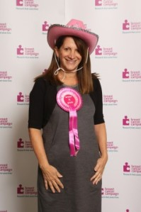 Lynne Featherstone MP supporting Breast Cancer Campaign's  'wear it pink'