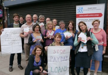 Haringey Liberal Democrat councillors, Helen Baron of the credit union and Lynne Featherstone MP on Muswell Hill Broadway protesting against the opening of a new payday loan company shop
