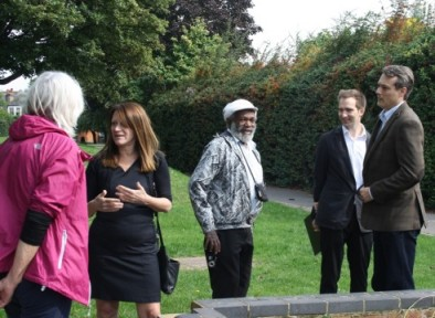 Lynne Featherstone MP meets with residents at Russell Park to discuss problems with the upkeep of the park.