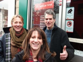 Lynne with local Councillors Rachel Allison and Bob Hare at Highgate Post Office