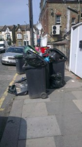 Uncollected rubbish on Lymington Road - summer 2013
