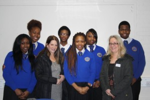 Lynne Featherstone MP with students at Greig City Academy