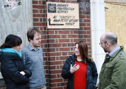 Lynne Featherstone discusses the development with local residents.