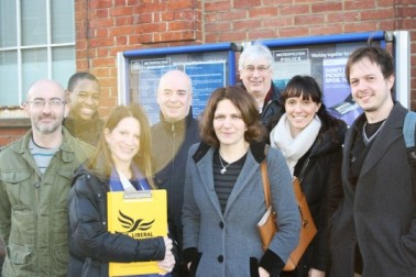 Lynne Featherstone MP and local campaigners celebrate the new campaign with local residents.