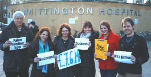 Lynne Featherstone and the Haringey Lib Dems celebrate a £7.6 million funding victory