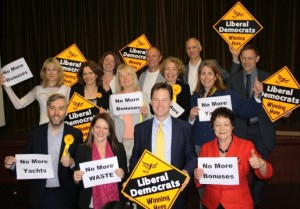 aringey Liberal Democrat leader Richard Wilson, Lynne Featherstone MP, Deputy Prime Minister Nick Clegg and Sarah London MEP – along with local Liberal Democrat candidates – back the campaign against Haringey Labour's bonuses, yacht trips and waste.