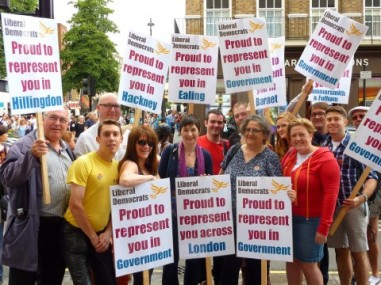 Lynne Featherstone MP on the pride march