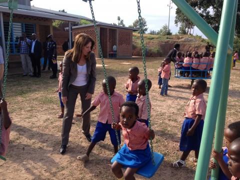 Lynne Featherstone MP opening a pre school in Rwanda