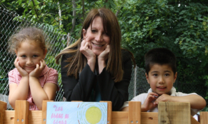 Lynne Featherstone MP with two school children in the Sensory Garden at St Paul's Primary School in Haringey