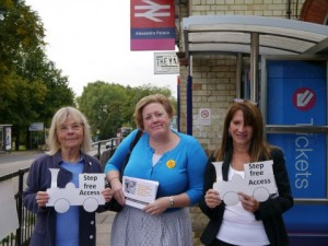 Lynne Featherstone MP with Dawn Barnes and Councillor Gail Engert, campaigning for step free access at Alexandra Palace Station