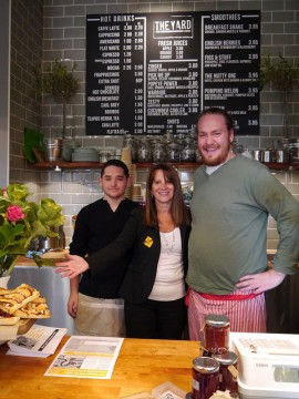 Local Lib Dem MP meets the team at new cafe The Yard at Alexandra Palace station in Wood Green