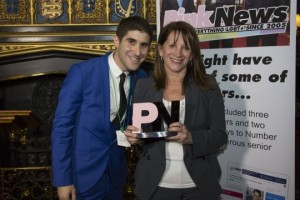 Lynne Featherstone MP accepts her award from Ben Cohen, Chief Executive and Founder of Pink News.