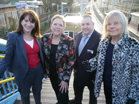Lynne Featherstone MP with Baroness Kramer, a representative from Great Northern rail, and Haringey Lib Dem deputy leader, Cllr Gail Engert, at Alexandra Palace station.