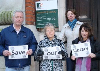 Lynne Featherstone MP, Lib Dem councillors Gail Engert, Pippa Connor and Viv Ross, protesting outside the library in Muswell Hill