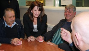 Lynne Featherstone MP talking with local residents at the Cypriot Community Centre