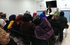 Lynne Featherstone MP speaks with local Turkish women in Wood Green