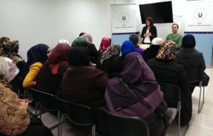 Lynne Featherstone MP speaks with local Turkish women in Wood Green