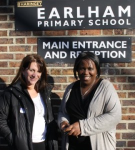 Lynne Featherstone MP and Earlham Head Teacher Oweda Harrison, outside Earlham Primary, Wood Green