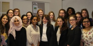 Lynne Featherstone MP with students from Henrietta Barnet School
