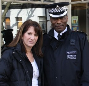 Lynne Featherstone and Haringey Borough Commander Victor Olisa