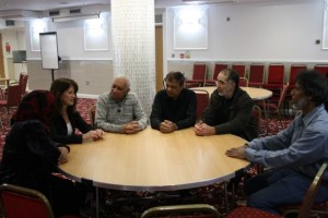 Lynne Featherstone MP discusses issues of extremism, hate crime and unity with members of the Mosque congregation.