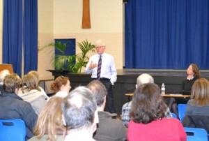 Health Minister Norman Lamb addresses the audience in Hornsey