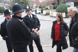 Lynne Featherstone MP and local neighbourhood watch joins local policemen on a walk-about in Crouch End
