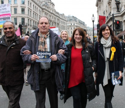 Lynne Featherstone MP at the UAF March with Simon Hughes MP
